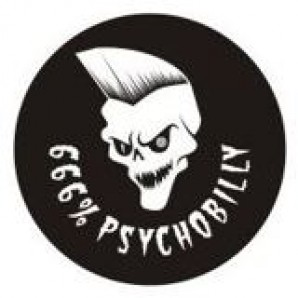 PVC sticker '666% Psychobilly' round