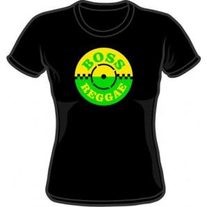 Girlie Shirt 'Boss Reggae' black, all sizes