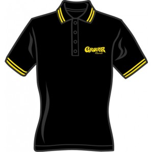Girlie polo shirt 'Grover Records' black, all sizes