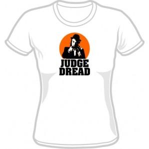 Girlie Shirt 'Judge Dread' white, sizes small - XL