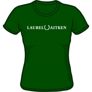 Girlie Shirt 'Laurel Aitken' flock bottlegreen, sizes S - XL
