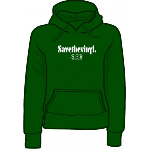 girlie hooded jumper 'Save the Vinyl - V.O.R.' green, all sizes