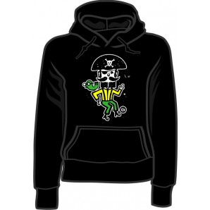 girlie hooded jumper 'CHema Skandal! - Treasure Isle Pirate' black, all sizes