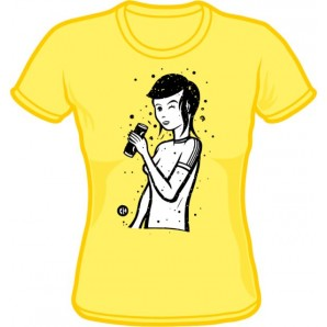 Girlie Shirt 'CHema Skandal! - Renee Girl' pale yellow - sizes S - XL
