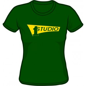 Girlie Shirt 'Studio One - Yellow Logo' bottle green - Gr. S - XXL