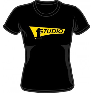 Girlie Shirt 'Studio One - Yellow Logo' black - Gr. S - XXL