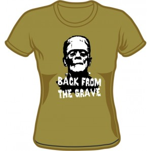 Girlie Shirt 'Back From The Grave' - olive green, all sizes