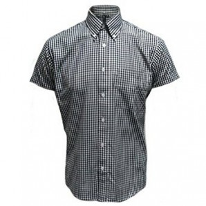 Relco Button Down Short Sleeved Shirt 'Gingham' black, sizes S - XL