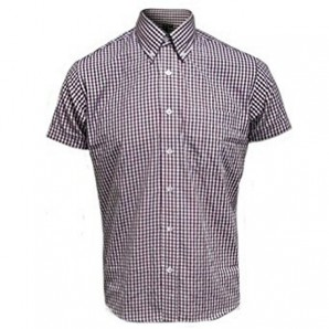 Relco Button Down Short Sleeved Shirt 'Gingham' burgundy, sizes S - 3XL