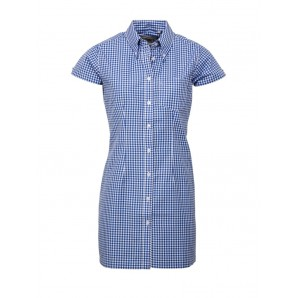 Relco Ladies long Gingham dress style shirt blue, sizes 10/S - 14/L