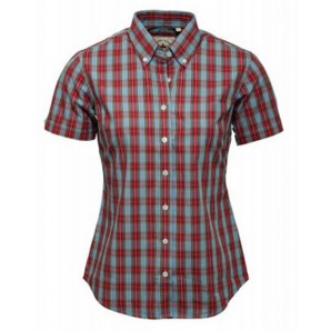 Relco Ladies Sky blue and red check shirt LSS 12, sizes 10/S - 14/L