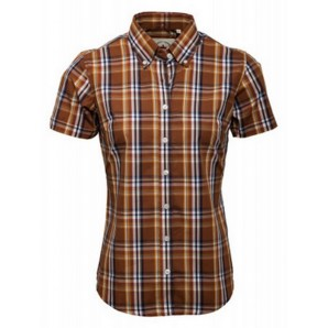 Relco Ladies brown Check shirt LSS 15, sizes 10/S - 14/L