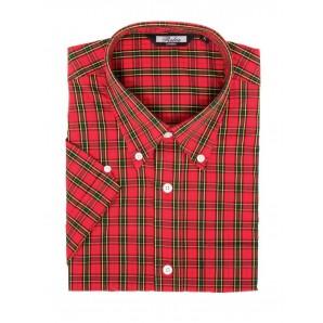 Relco Button Down Kurzärmel-Shirt 'Tartan 01 red' print, sizes S - L, XXL