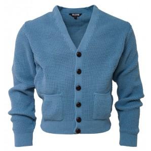 Relco Waffle Cardigan dusty blue, sizes M - XL