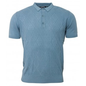 Relco Mens Knitted polo shirt - dusty blue - VS-4, sizes M, L, XL