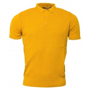Relco Mens Knitted polo shirt - mustard - VS-4, sizes M, L, XL
