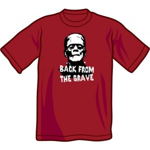 T-Shirt 'Back From The Grave' burgundy, all sizes