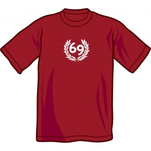 T-Shirt '69' burgundy all sizes