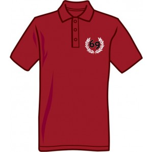 Polo Shirt '69' burgundy, all sizes