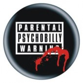 fridge magnet 'Parental Warning - Psychobilly' 43 mm