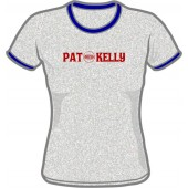Girlie Shirt 'Pat Kelly' Ringer grey heather - sizes small, medium, large