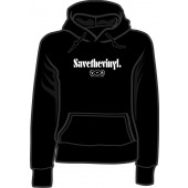 girlie hooded jumper 'Save the Vinyl - V.O.R.' black, all sizes