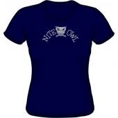 Girlie Shirt 'Nite Owl' navy blue, all sizes