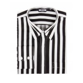 Relco Button Down Long Sleeved Shirt 'Candy Stripe' black and white, sizes M - XXL