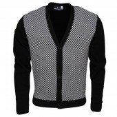 Relco Black and White Checkerboard Chas Retro Cardigan, sizes M, L, XL