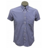Relco Button Down Short Sleeved Shirt 'Gingham' blue, sizes S - 3XL