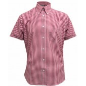 Relco Button Down Short Sleeved Shirt 'Gingham' red, sizes S - 3XL