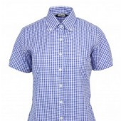 Relco Girlie Button Down Short Sleeved Shirt 'LSS gngm blue', sizes 10/S - 16/XL