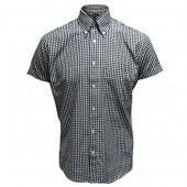 Relco Button Down Short Sleeved Shirt 'Gingham' black, sizes S - 3XL