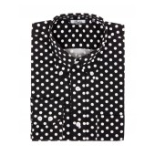 Relco Button Down Long Sleeved Shirt 'Polka Dot' black and white, sizes M - XXL