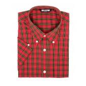 Relco Button Down Kurzärmel-Shirt 'Tartan 01 red' print, sizes S - 3XL