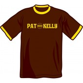 T-Shirt 'Pat Kelly' Ringer brown/yellow - all sizes