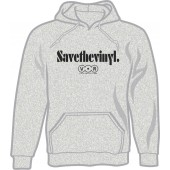 hooded jumper 'Save The Vinyl - V.O.R.' heather grey, all sizes