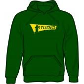 hooded jumper 'Studio One - Yellow Logo' bottle green - sizes S - XXL