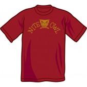 T-shirt 'Nite Owl' burgundy, sizes XS, S