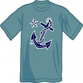T-Shirt 'Anchor & Nautic Star' blue, all sizes