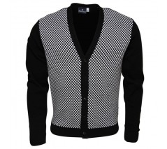 Relco Black and White Checkerboard Chas Retro Cardigan, sizes S - 3XL - BACK IN STOCK!