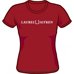 Girlie Shirt 'Laurel Aitken' flock burgundy, sizes S - XL