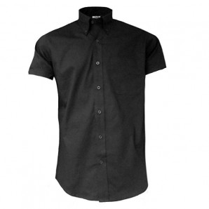 Relco Button Down Kurzärmel-Shirt 'Oxford weave - black', size XL
