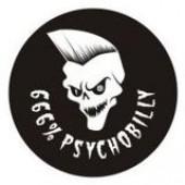 PVC sticker '666% Psychobilly' round