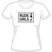 Girlie Shirt 'Rude Girls' V-neck, all sizes