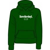 girlie hooded jumper 'Save the Vinyl - V.O.R.' green, all sizes