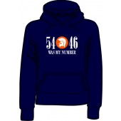 girlie hooded jumper '54 - 46 Was My Number' navy blue, all sizes