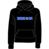 Girlie hooded jumper 'Tighten Up!' black, sizes small - XXL