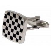Warrior 2 Tone Ska Cufflinks - Silver & Black Checks