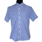 Warrior British Vintage Button Down 'Steady' blue/white, size S